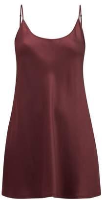 La Perla Scoop-neck Short Silk-satin Slip Dress - Womens - Burgundy