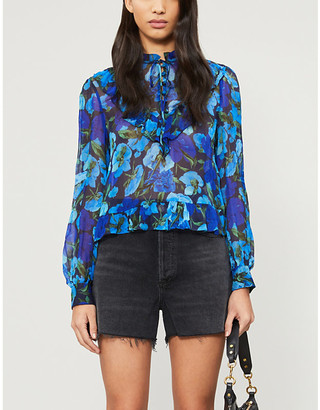 The Kooples Floral ruffle trim chiffon top