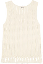 Madewell Fringed Open-knit Cotton-blend Top - Cream