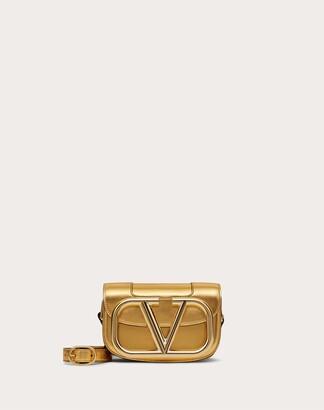 Valentino Small Supervee Laminated Nappa Crossbody Bag Women Soft Gold Lambskin 100% OneSize