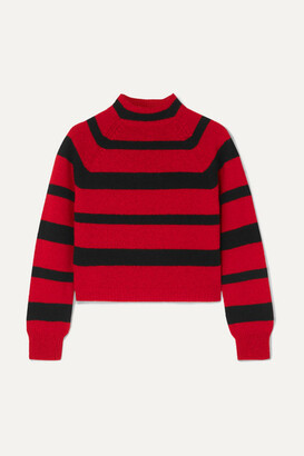 Miu Miu Cropped Striped Cashmere Sweater - Red