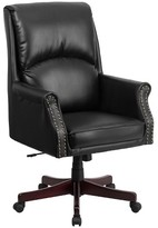 Ashley High Back Pillow Back Black Leather Executive Swivel Office Chair - Flash Furniture