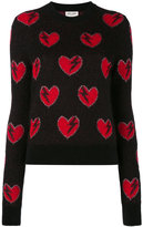 Saint Laurent heart embroidered sweater - women - Polyamide/Polyester/Viscose/Wool - XS