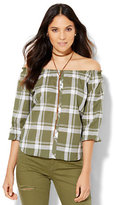 New York & Co. Soho Off-The-Shoulder Blouse - Olive Plaid