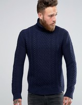 Edwin Roll Neck Cable Sweater