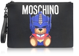 Moschino Transformer Black Print Polyurethane Pochette