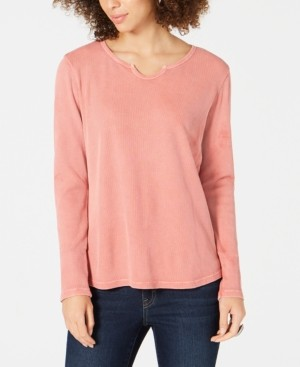 Style&Co. Style & Co Split-Neck Cotton Thermal Top, Created for Macy's