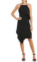 Betsey Johnson Halter Ruffle Tier Asymmetrical Sheath Dress