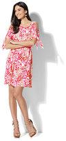 New York & Co. Belted Cold-Shoulder Dress - Floral Print