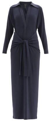 Norma Kamali Tie-front Stretch-jersey Maxi Dress - Dark Blue