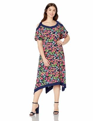 Rafaella Women's Plus Size Cold Shoulder Print Dress