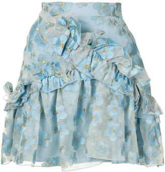 macgraw Souffle ruffle trim mini skirt