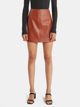 4SI3NNA the Label Carson Faux Leather Mini Skirt