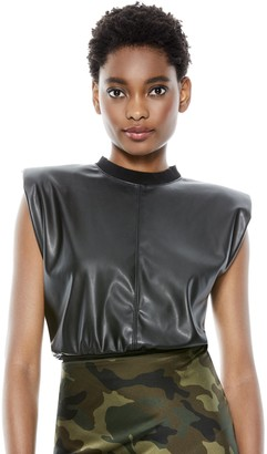 Alice + Olivia Kendrick Vegan Leather Crop Top