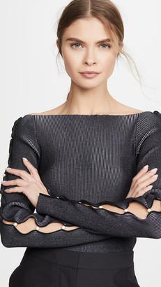 ADEAM Off Shoulder Pearl Sweater