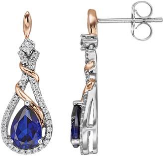 Two Tone Sterling Silver Lab-Created Blue & White Sapphire Teardrop Earrings