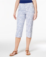 Karen Scott Petite Geo-Print Button-Hem Capri Pants, Only at Macy's