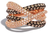 Effy Jewelry Effy Espresso 14K Rose Gold Cognac and White Diamond Ring, 1.52 TCW