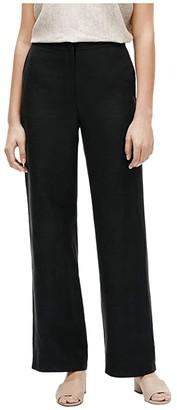 Eileen Fisher Straight Wide Leg Pants (Black) Women's Casual Pants