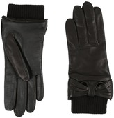 UGG Smart Leather Gloves w/ Knit/Bow Trim