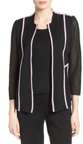 Ming Wang Women's Piped Mesh Knit Zip Front Jacket