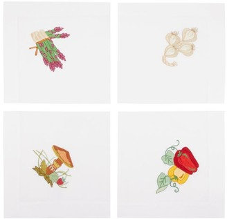 Loretta Caponi - Set Of Four Hand-embroidered Linen Napkins - Multi