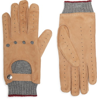 Brunello Cucinelli Cashmere Lined Leather Driving Gloves