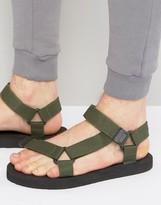 Asos Sandals With Khaki Nylon Straps