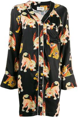 Kirin Tiger Print Shirt Dress