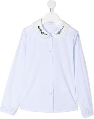 MonnaLisa Floral Embroidered Collar Shirt