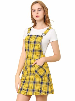 Allegra K Women's Tartan Adjustable Strap Above Knee Overall Pinafore Dress Green-Grey 4