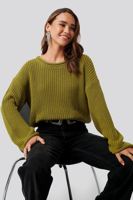 NA-KD Cropped Boat Neck Knitted Sweater Beige