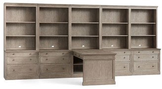 "Pottery Barn Livingston Peninsula Desk with 175"" Bookcase Suite"