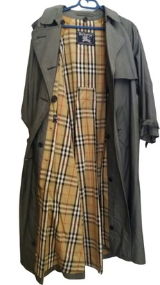 Burberry Grey Cotton Trench Coat for Women Vintage