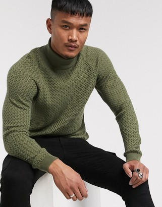 Asos DESIGN knitted roll neck sweater with basket texture in khaki
