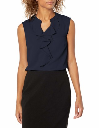 Nine West Women's Slvlss Crepe CAMI with Ruffle