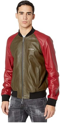 DSQUARED2 Raglan Sleeve Leather Track Jacket (Red/Green) Men's Coat