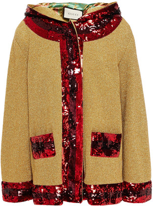 Gucci Sequin-embellished Metallic Knitted Hooded Jacket
