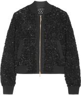 Elie Saab Embellished Tulle Bomber Jacket - Black