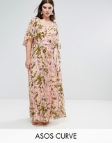 Asos Floral Pleated Flutter Sleeve Maxi Dress