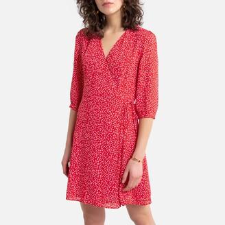 Sud Express Rawnak Printed Wrapover Mini Dress with Long Sleeves