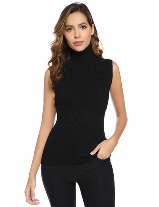Abollria Womens Turtle Neck Sleeveless Chunky Knit Ribbed Knitwear Sweater Jumper Vest Black