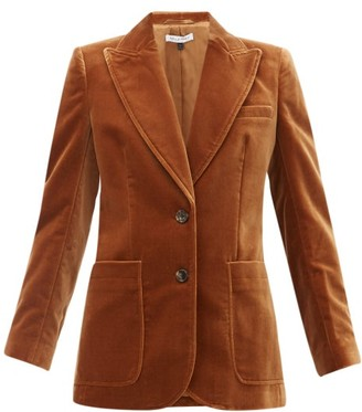 Bella Freud Saint James Single-breasted Velvet Jacket - Womens - Mid Brown