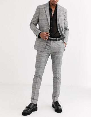 Topman tailored suit pants in grey check