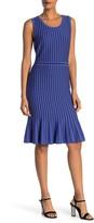 Nina Leonard Striped Flounce Hem Sweater Dress