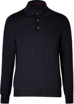 Brioni Wool Long Sleeve Knit Polo Shirt