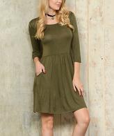 Celeste Olive Pocket Scoop Neck Dress