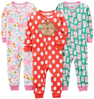 Carter's Simple Joys by Baby Girls' Toddler 3-Pack Snug Fit Footless Cotton Pajamas