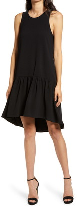 Charles Henry Sleeveless High/Low Shift Dress