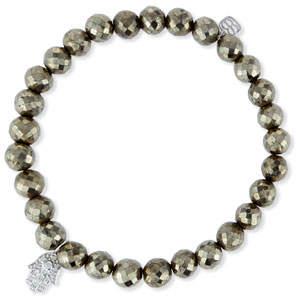 Sydney Evan Champagne Pyrite Bead Bracelet w/14K Gold Diamond Hamsa Charm